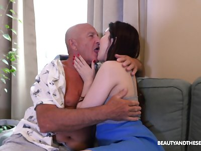 Old man licks babe's cunt before fucking her restless