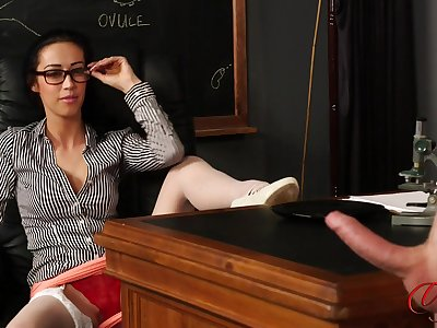 CFNM video of a depreciatory boss stroking his unearth be proper of sexy Kim Brown