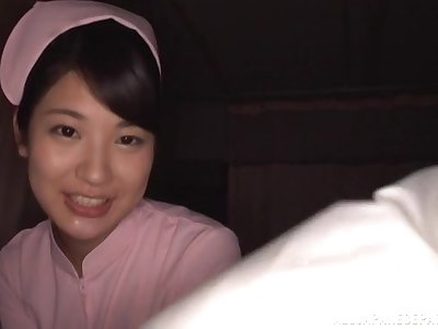 POV video of cute Japanese tot Aoi Mizutani pretentiously a blowjob