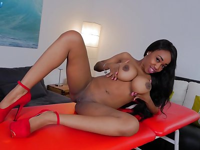 Busty ebony doll is keen for the white hammer, no object to about it