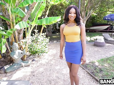 Sexy ebony cutie Lala Ivey drops on her knees to suck a white dick