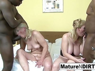 Two blonde grannies attempt an interracial foursome