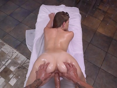 Full POV scenes chip the guy pours massage oil on her tight holes