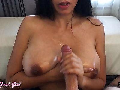 Huge cumshot handjob compilation - fat creamy loads added to hot tits