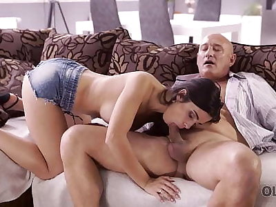OLD4K. Inclement brunette tempts old man into drilling her butthole