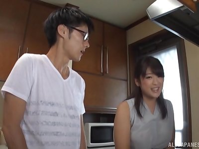 Asian matriarch pleases horny stepson with morning sex