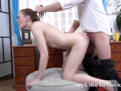 Nut sucking beauty bends over for dick from behind