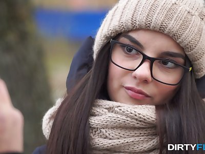 Shy nerdy brunet Bell Knock gives a blowjob and gets laid on the first place