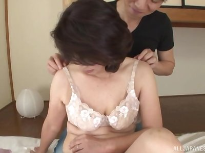 Seductive Japanese mature enjoys old egg for sex