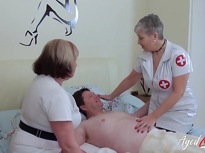 BBW nurses on hold their patient with his sexual needs