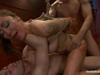 Submissive Princess Donna Dolore dutifully obeys team a few Doms