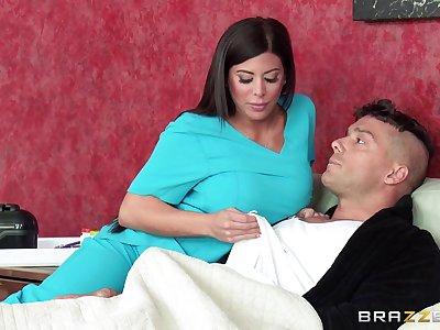 Heedfulness Alexa Penetrate in sexy uniform sucks a dick and rides him hard
